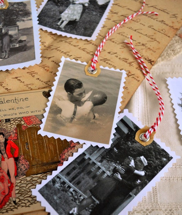 true love's kiss valentine gift tags vintage photo diy rookno17-003